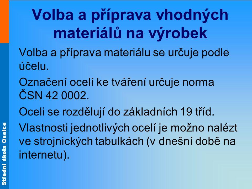Střední škola Oselce Volba a příprava vhodných materiálů na výrobek Volba a příprava materiálu se určuje podle účelu.