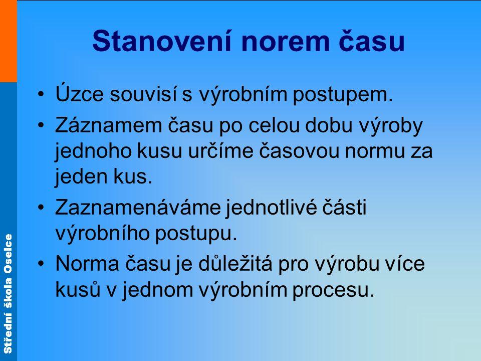 Střední škola Oselce Stanovení norem času Úzce souvisí s výrobním postupem.