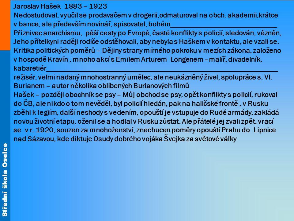 Střední škola Oselce Jedno z nejznámějších děl české literatury – 4 díly, nedokončeno, autobiografie, postava milovaná i nenáviděná, vznik už cca 10 let před válkou – Charakteristika Josefa Švejka_______________________________________________ ________________________________________________________________________ Črty povídky a humoresky z cest, postřeh, vtip, typické vlastnosti lidí, vtipný jazyk, 2 fotografie Milan Demela Lipnice na Sázavou
