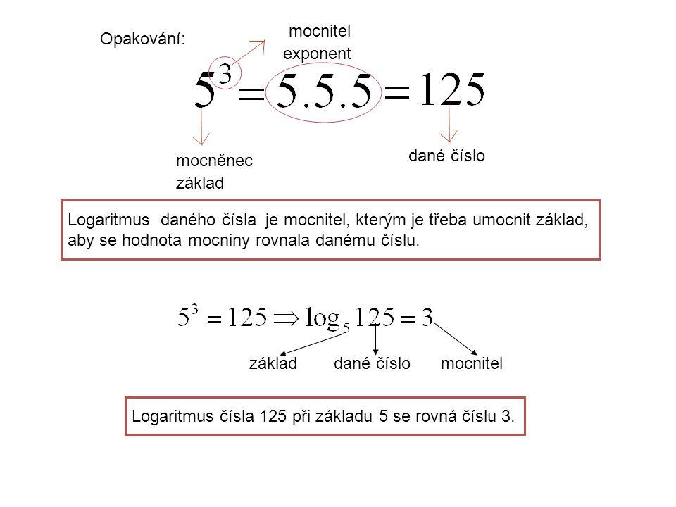 Opakování: mocněnec základ mocnitel exponent dané číslo Logaritmus daného čísla je mocnitel, kterým je třeba umocnit základ, aby se hodnota mocniny rovnala danému číslu.