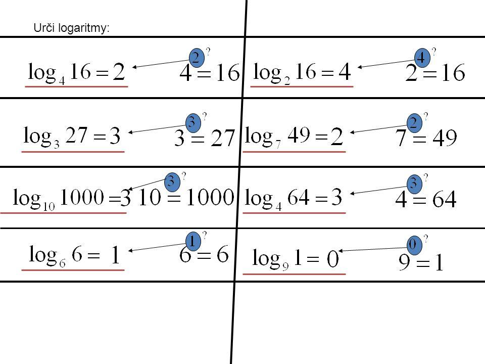 Urči logaritmy:
