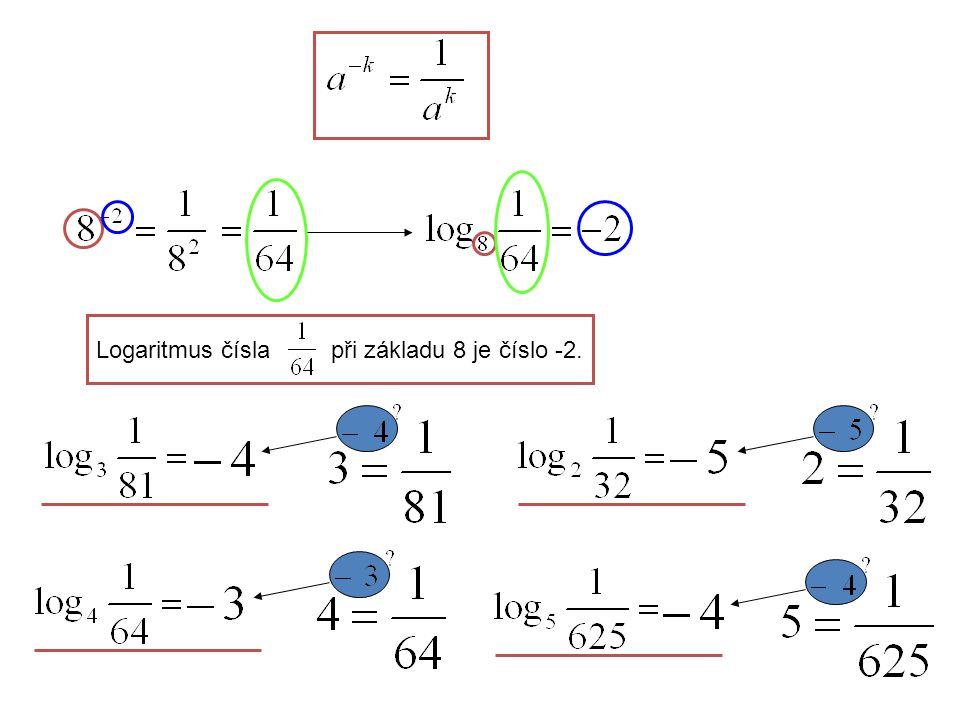 Logaritmus čísla při základu 8 je číslo -2.