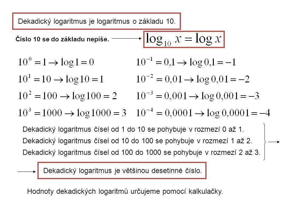 Dekadický logaritmusje logaritmus o základu 10. Číslo 10 se do základu nepíše.