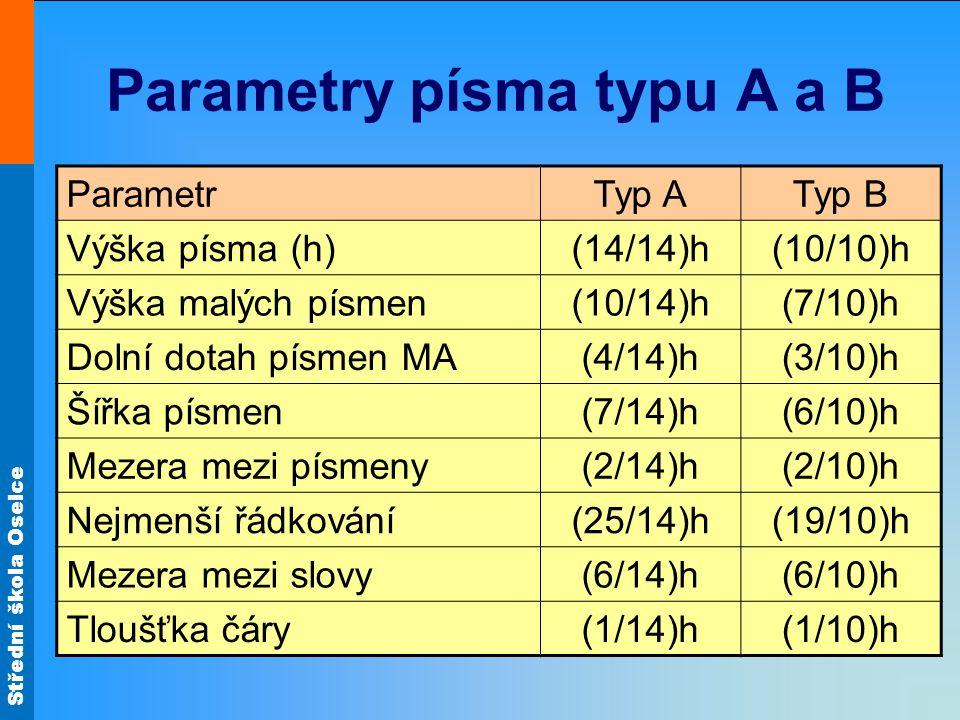 Střední škola Oselce Parametry písma typu A a B ParametrTyp ATyp B Výška písma (h)(14/14)h(10/10)h Výška malých písmen(10/14)h(7/10)h Dolní dotah písm
