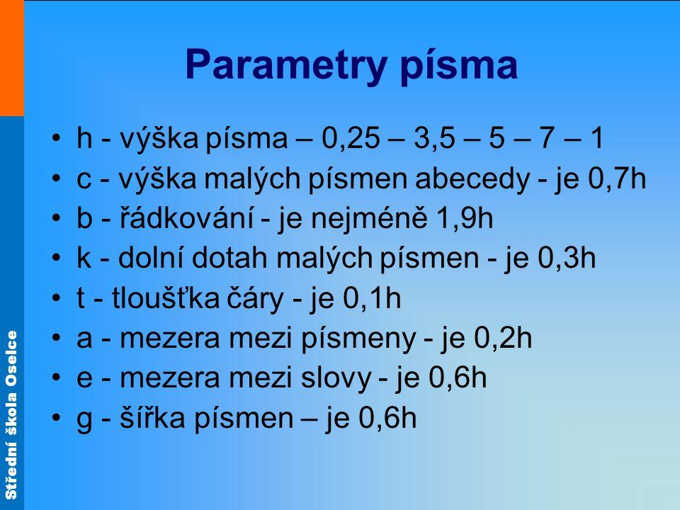 Střední škola Oselce Parametry písma h - výška písma – 0,25 – 3,5 – 5 – 7 – 1 c - výška malých písmen abecedy - je 0,7h b - řádkování - je nejméně 1,9