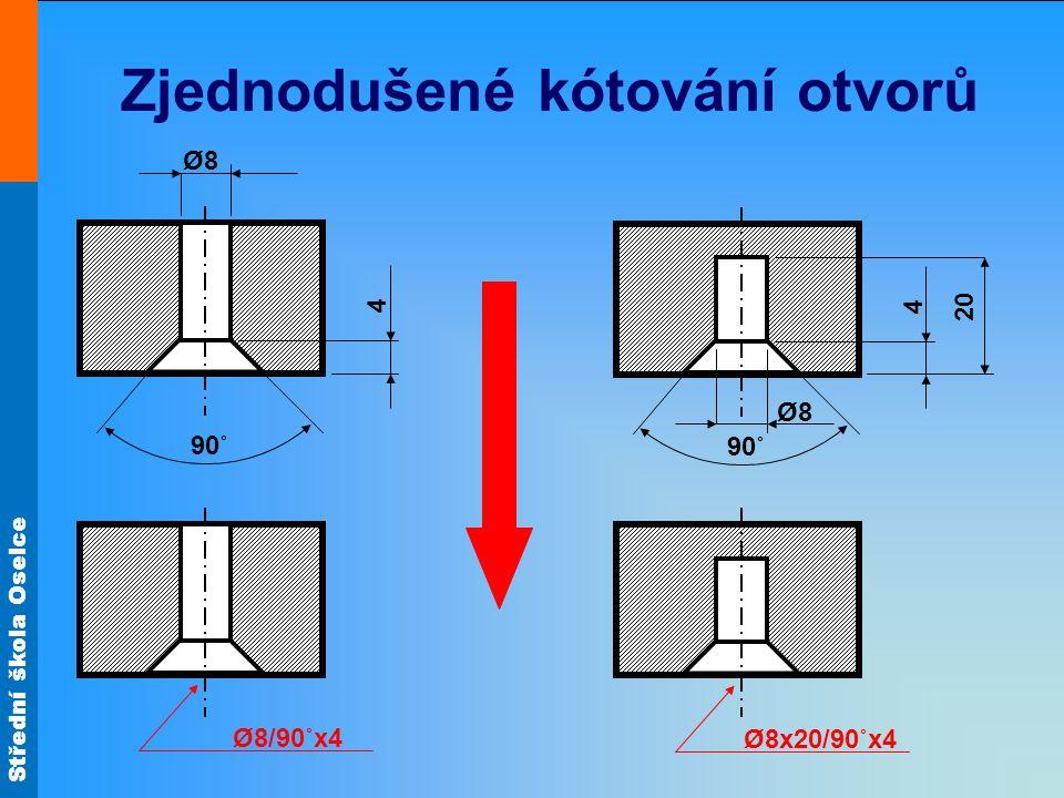 Střední škola Oselce Zjednodušené kótování otvorů 4 90˚ Ø8Ø8 Ø8/90˚x4 Ø8x20/90˚x4 4 90˚ Ø8Ø8 20
