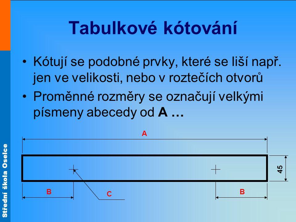 Střední škola Oselce Tabulkové kótování Kótují se podobné prvky, které se liší např. jen ve velikosti, nebo v roztečích otvorů Proměnné rozměry se ozn