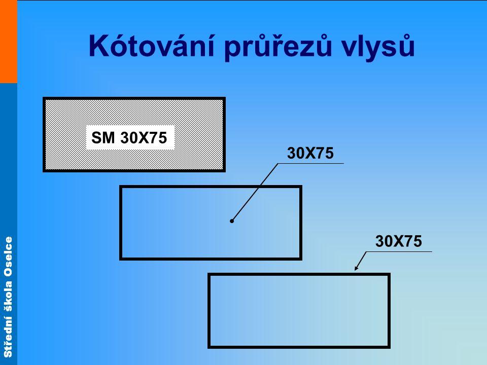 Střední škola Oselce Kótování průřezů vlysů SM 30X75 30X75