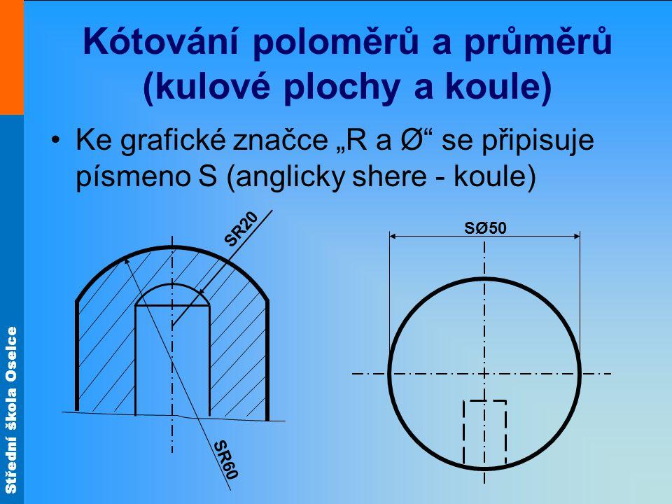 """Střední škola Oselce Kótování poloměrů a průměrů (kulové plochy a koule) Ke grafické značce """"R a Ø"""" se připisuje písmeno S (anglicky shere - koule) SØ"""