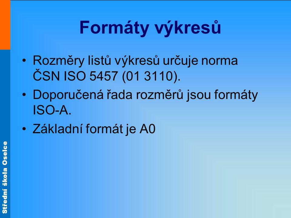 Střední škola Oselce Formáty výkresů Rozměry listů výkresů určuje norma ČSN ISO 5457 (01 3110). Doporučená řada rozměrů jsou formáty ISO-A. Základní f