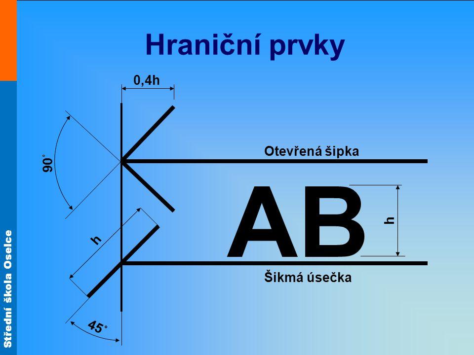 Střední škola Oselce Hraniční prvky h 90˚ Otevřená šipka 0,4h 45˚ AB h Šikmá úsečka