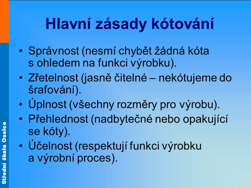Střední škola Oselce Hlavní zásady kótování Správnost (nesmí chybět žádná kóta s ohledem na funkci výrobku).