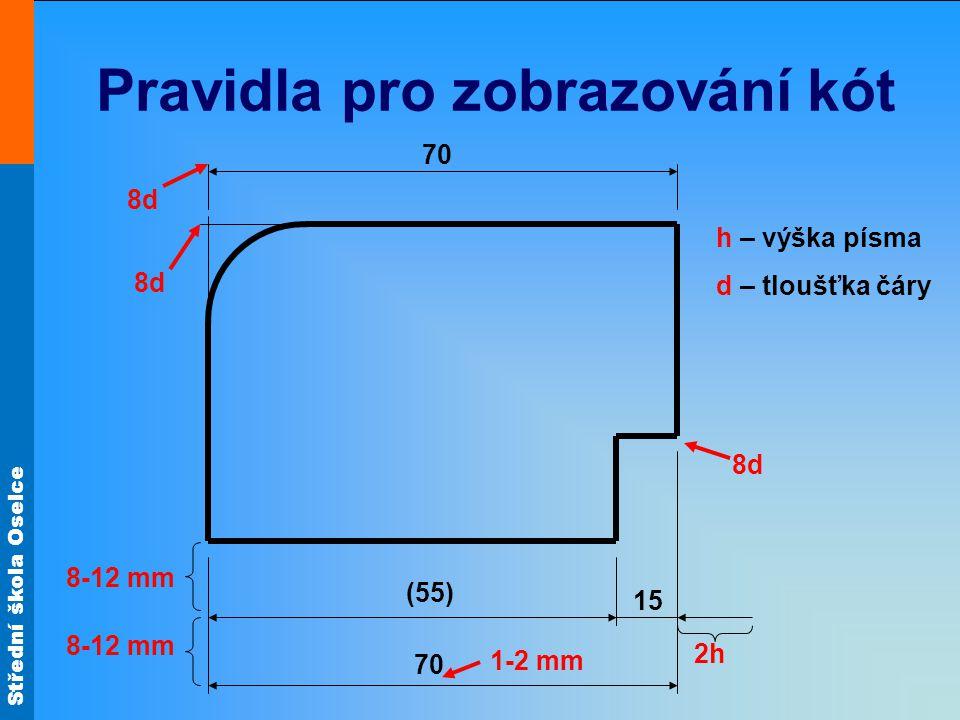 Střední škola Oselce Pravidla pro zobrazování kót 70 (55) 15 70 h – výška písma d – tloušťka čáry 2h 8-12 mm 1-2 mm 8d