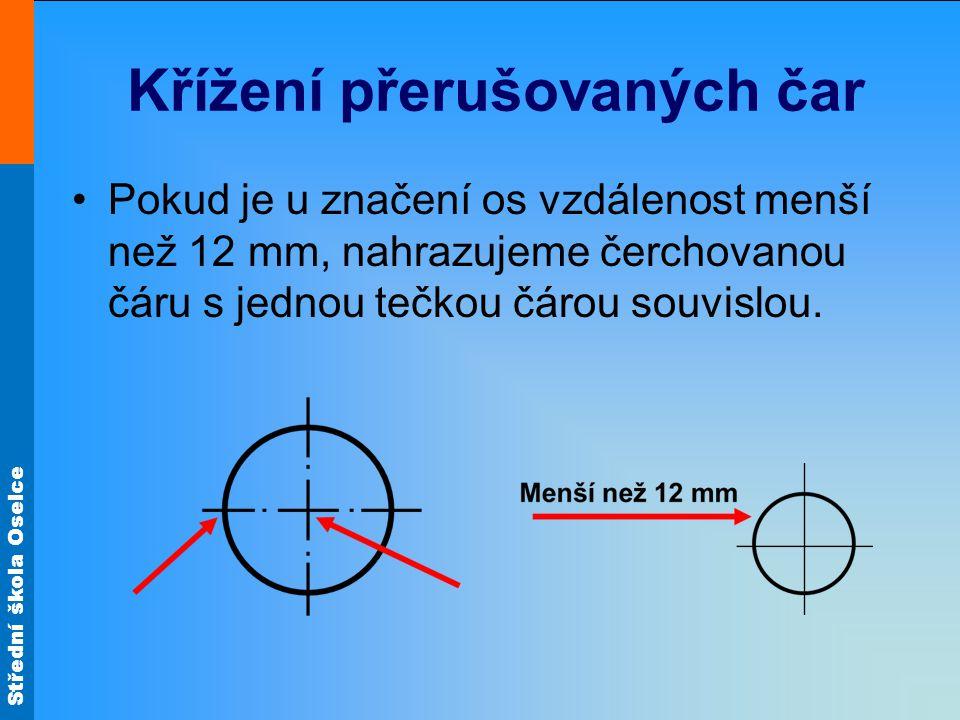 Střední škola Oselce Křížení přerušovaných čar Pokud je u značení os vzdálenost menší než 12 mm, nahrazujeme čerchovanou čáru s jednou tečkou čárou so