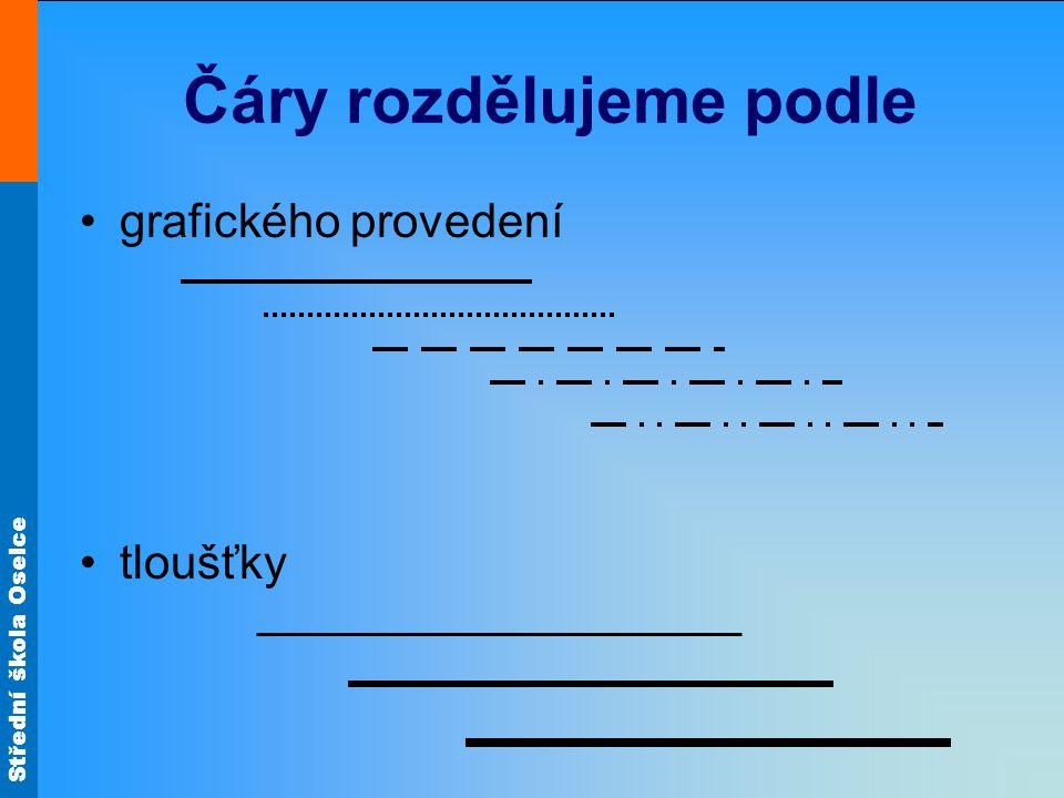 Střední škola Oselce Čáry rozdělujeme podle grafického provedení tloušťky