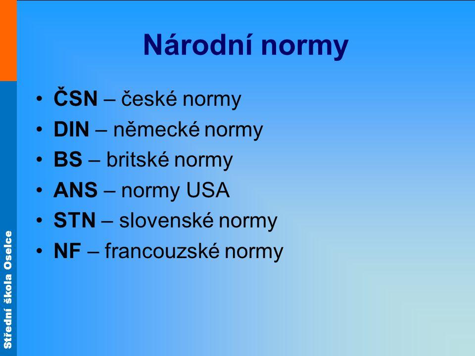 Střední škola Oselce Národní normy ČSN – české normy DIN – německé normy BS – britské normy ANS – normy USA STN – slovenské normy NF – francouzské nor
