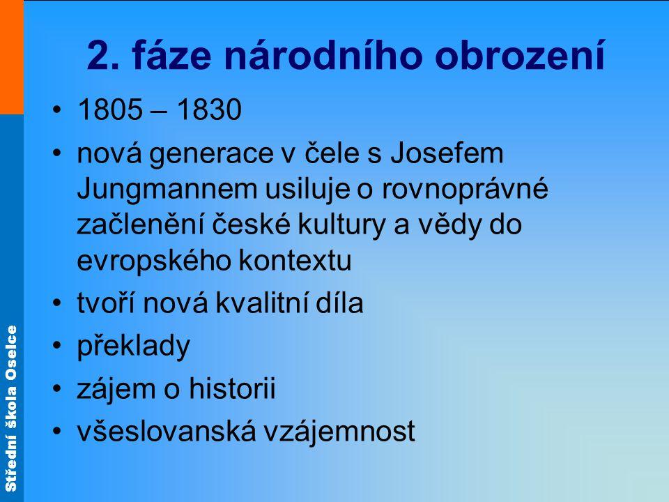 Střední škola Oselce 2. fáze národního obrození 1805 – 1830 nová generace v čele s Josefem Jungmannem usiluje o rovnoprávné začlenění české kultury a