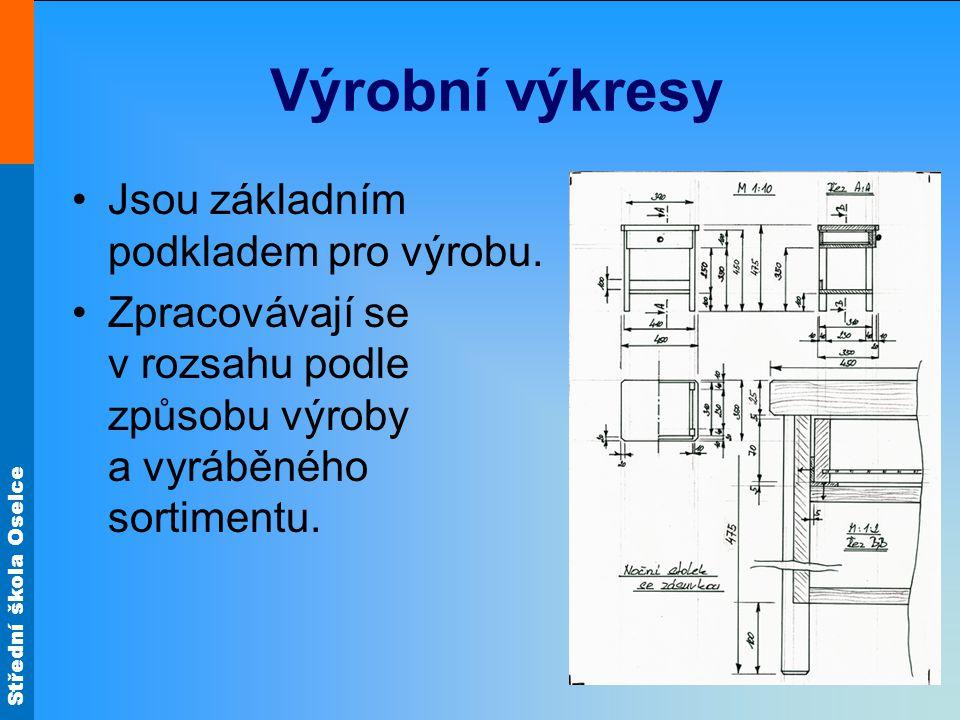 Střední škola Oselce Výrobní výkresy Jsou základním podkladem pro výrobu.
