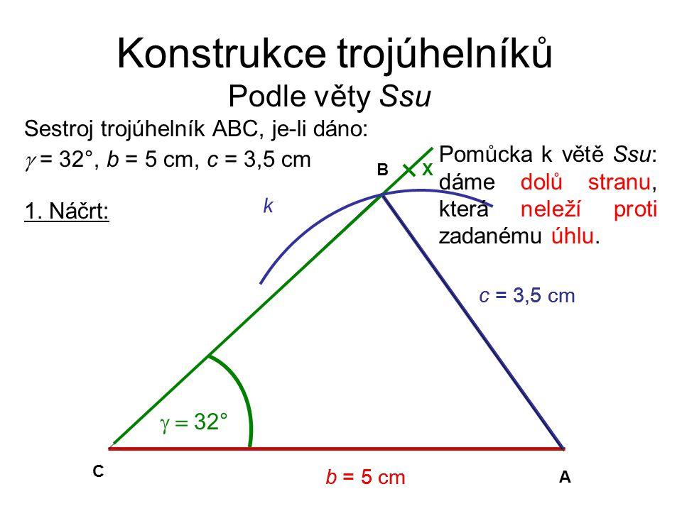 Konstrukce trojúhelníků Podle věty Ssu 1.Náčrt:Podmínky řešitelnosti: nepíšeme 2.