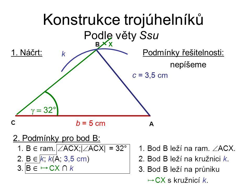Konstrukce trojúhelníků Podle věty Ssu 1.Náčrt: 2.