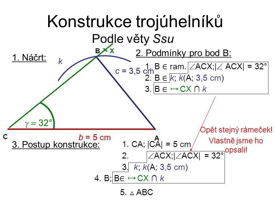 Konstrukce trojúhelníků Podle věty Ssu 3.Postup konstrukce: 1.