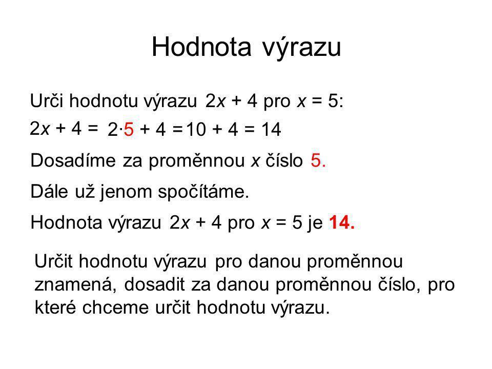 Hodnota výrazu Urči hodnotu výrazu 2x + 4 pro x = 5: 2x + 4 = Dosadíme za proměnnou x číslo 5. 2·5 + 4 = Dále už jenom spočítáme. 10 + 4 = 14 Hodnota