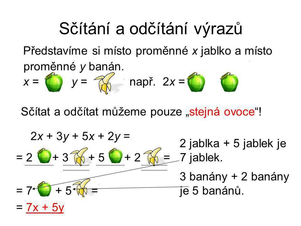 """Sčítání a odčítání výrazů Představíme si místo proměnné x jablko a místo proměnné y banán. Sčítat a odčítat můžeme pouze """"stejná ovoce""""! 2x + 3y + 5x"""