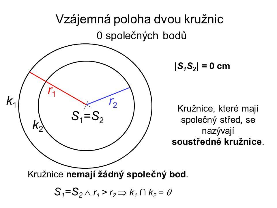 |S 1 S 2 | = 0 cm Vzájemná poloha dvou kružnic S 1 =S 2  r 1 > r 2  k 1 ∩ k 2 =  Kružnice nemají žádný společný bod. Kružnice, které mají společný