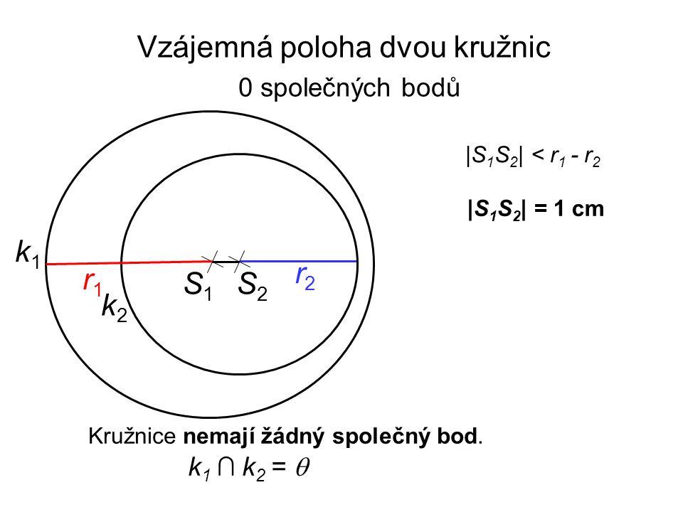 |S 1 S 2 | = 1 cm |S 1 S 2 | < r 1 - r 2 Kružnice nemají žádný společný bod. k 1 ∩ k 2 =  S1S1 r2r2 k1k1 r1r1 k2k2 S2S2 Vzájemná poloha dvou kružnic