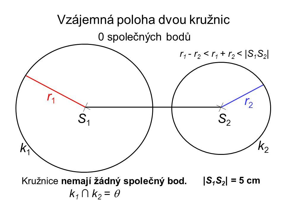 |S 1 S 2 | = 5 cm r 1 - r 2 < r 1 + r 2 < |S 1 S 2 | S1S1 r2r2 k1k1 r1r1 k2k2 S2S2 Kružnice nemají žádný společný bod. k 1 ∩ k 2 =  Vzájemná poloha d