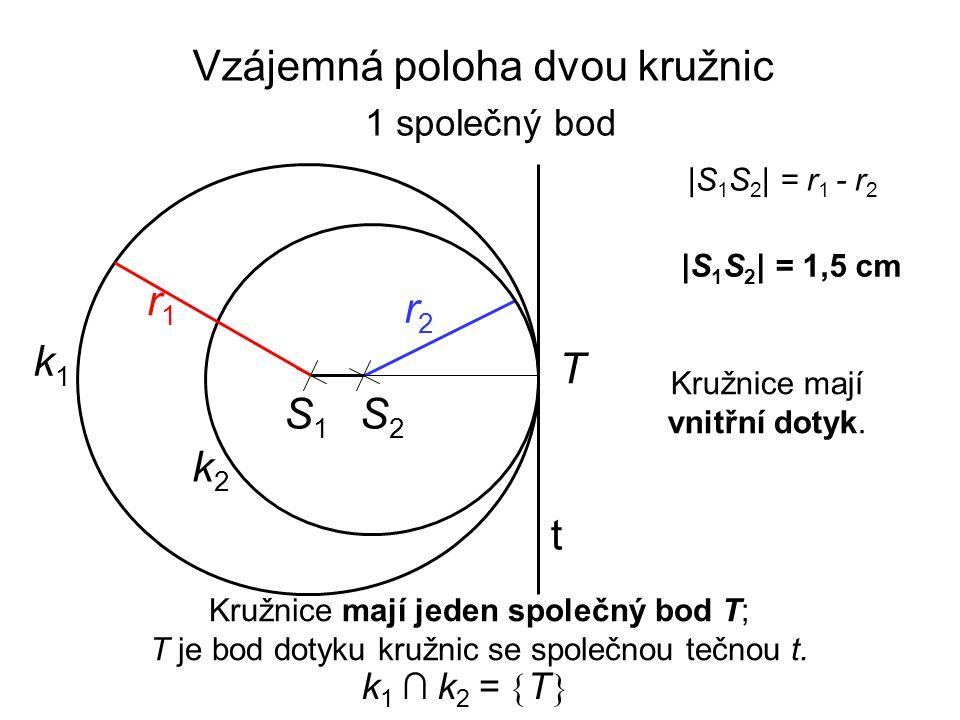 S1S1 r2r2 k1k1 |S 1 S 2 | = 1,5 cm r1r1 |S 1 S 2 | = r 1 - r 2 Kružnice mají jeden společný bod T; T je bod dotyku kružnic se společnou tečnou t. k2k2