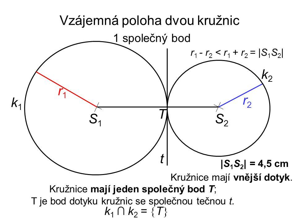 S1S1 r2r2 k1k1 |S 1 S 2 | = 4,5 cm r1r1 r 1 - r 2 < r 1 + r 2 = |S 1 S 2 | Kružnice mají jeden společný bod T; T je bod dotyku kružnic se společnou tečnou t.