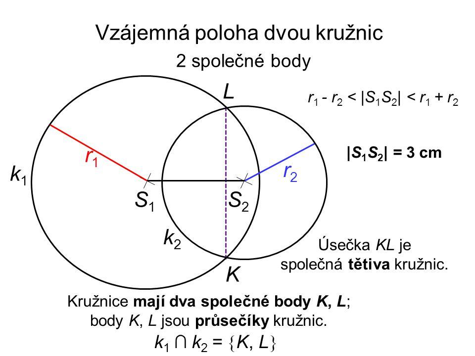 S1S1 r2r2 k1k1 |S 1 S 2 | = 3 cm r1r1 r 1 - r 2 < |S 1 S 2 | < r 1 + r 2 Kružnice mají dva společné body K, L; body K, L jsou průsečíky kružnic. k2k2