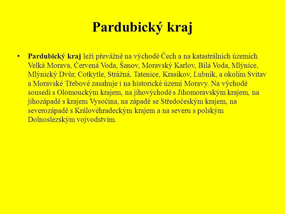 Pardubický kraj leží převážně na východě Čech a na katastrálních územích Velká Morava, Červená Voda, Šanov, Moravský Karlov, Bílá Voda, Mlýnice, Mlýnický Dvůr, Cotkytle, Strážná, Tatenice, Krasíkov, Lubník, a okolím Svitav a Moravské Třebové zasahuje i na historické území Moravy.