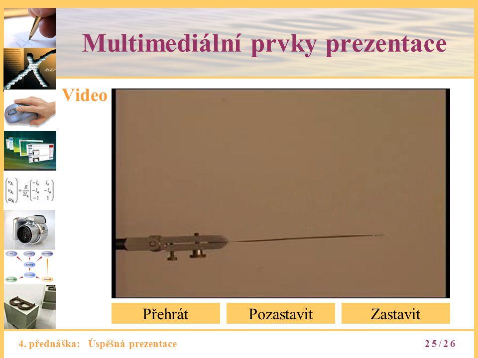 4. přednáška: Úspěšná prezentace Multimediální prvky prezentace Video PřehrátPozastavitZastavit 25/26