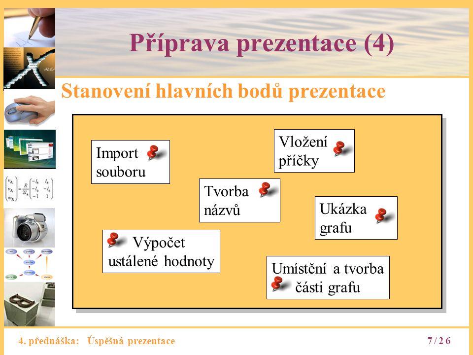 4. přednáška: Úspěšná prezentace Příprava prezentace (4) Stanovení hlavních bodů prezentace Import souboru Tvorba názvů Ukázka grafu Umístění a tvorba