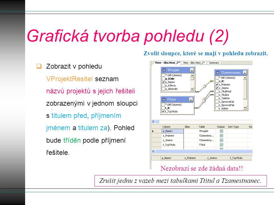 Grafická tvorba pohledu (2)  Zobrazit v pohledu VProjektResitel seznam názvů projektů s jejich řešiteli zobrazenými v jednom sloupci s titulem před, příjmením jménem a titulem za).