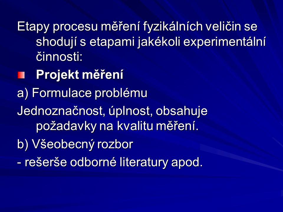 Etapy procesu měření fyzikálních veličin se shodují s etapami jakékoli experimentální činnosti: Projekt měření a) Formulace problému Jednoznačnost, úplnost, obsahuje požadavky na kvalitu měření.