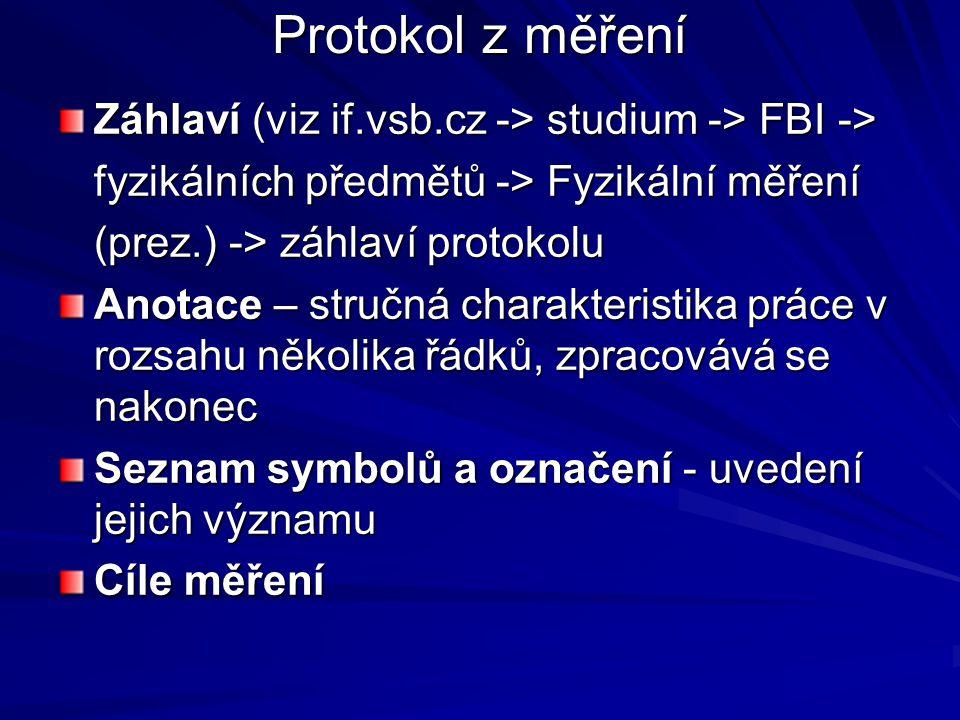 Protokol z měření Záhlaví (viz if.vsb.cz -> studium -> FBI -> fyzikálních předmětů -> Fyzikální měření (prez.) -> záhlaví protokolu Anotace – stručná charakteristika práce v rozsahu několika řádků, zpracovává se nakonec Seznam symbolů a označení - uvedení jejich významu Cíle měření