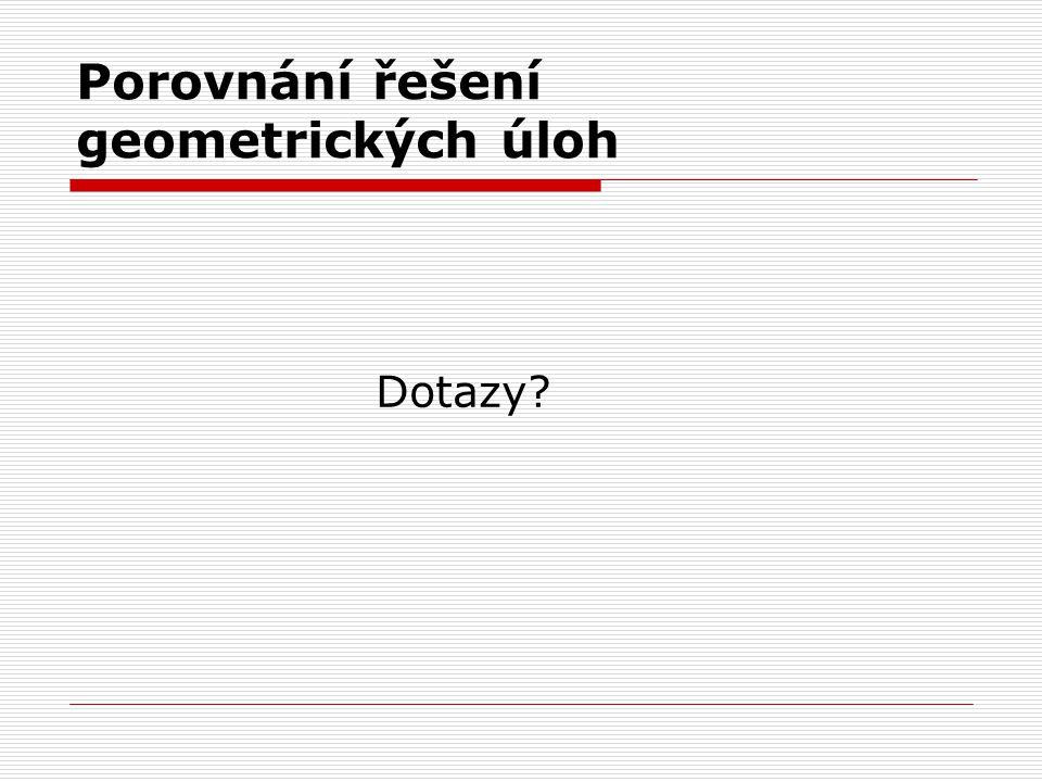 Porovnání řešení geometrických úloh Dotazy?