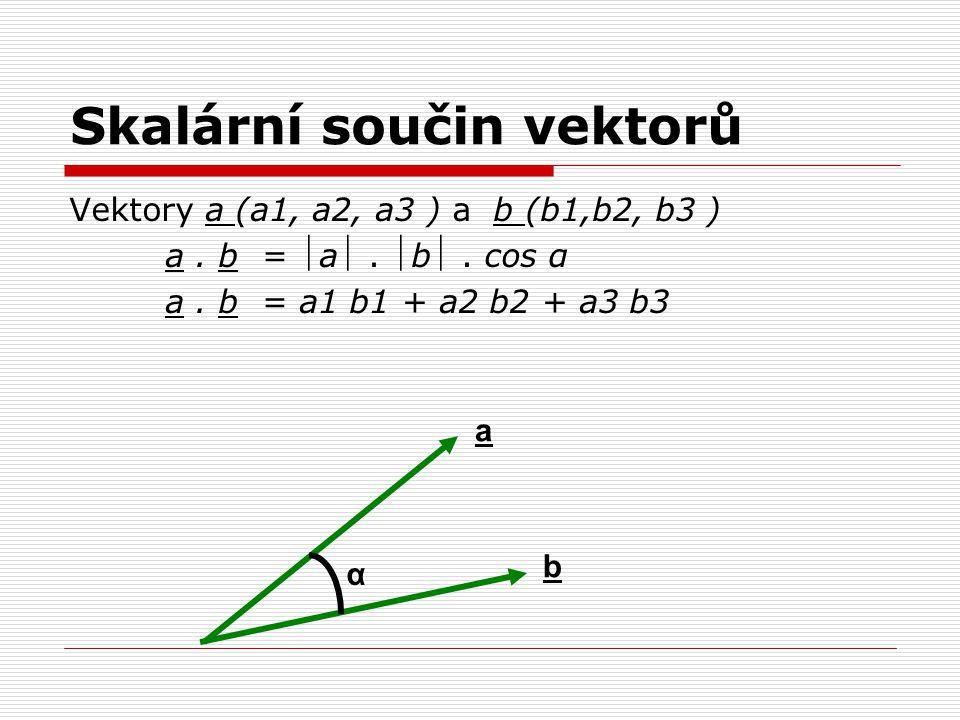 Skalární součin vektorů Vektory a (a1, a2, a3 ) a b (b1,b2, b3 ) a. b = a. b. cos α a. b = a1 b1 + a2 b2 + a3 b3 α b a