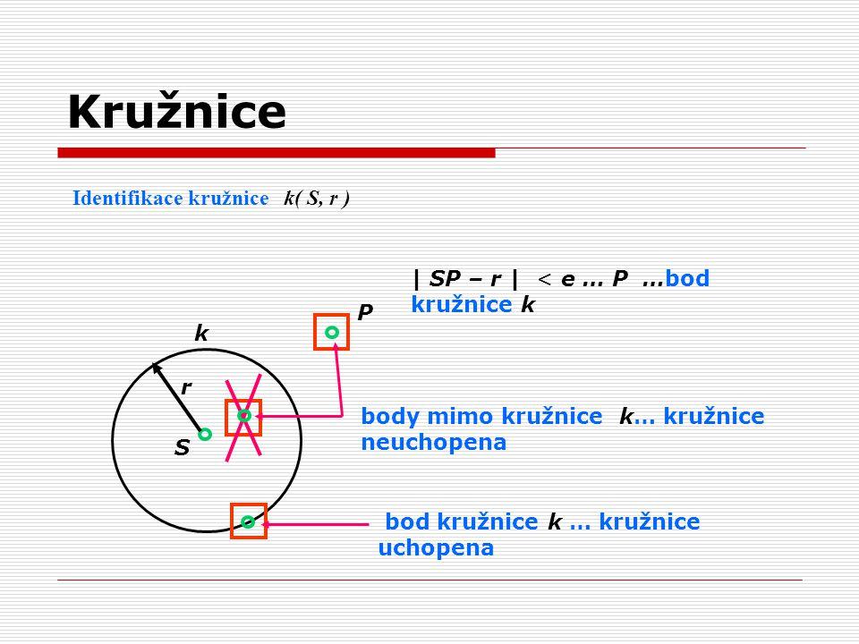 Identifikace kružnice k( S, r ) P S r | SP – r | < e … P …bod kružnice k k body mimo kružnice k… kružnice neuchopena bod kružnice k … kružnice uchopen