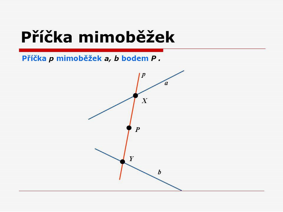Příčka mimoběžek Příčka p mimoběžek a, b bodem P. p a P b Y X