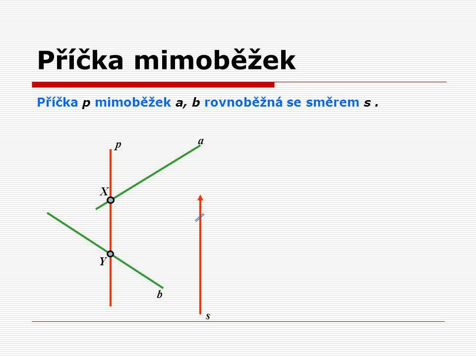 Příčka p mimoběžek a, b rovnoběžná se směrem s. a b p X Y s Příčka mimoběžek