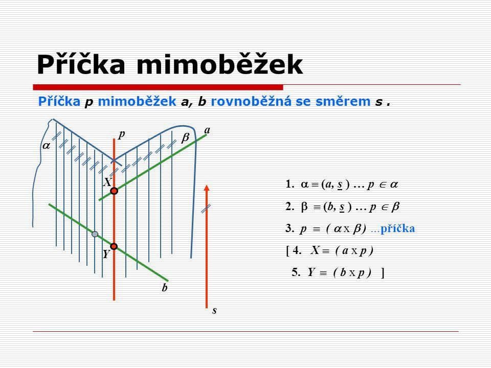 Příčka p mimoběžek a, b rovnoběžná se směrem s. 1.   (a, s ) … p   2.   (b, s ) … p   3. p  (  x  ) …příčka [ 4. X  ( a x p ) 5. Y  ( b x