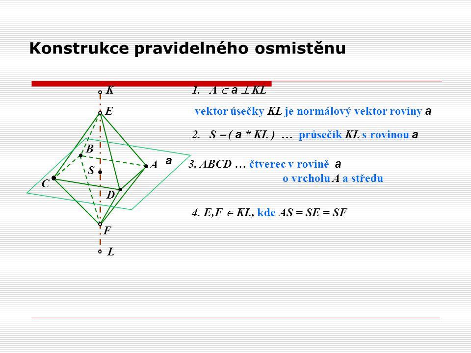 Konstrukce pravidelného osmistěnu a A L K 1.A  a  KL vektor úsečky KL je normálový vektor roviny a S D C B F E 4. E,F  KL, kde AS = SE = SF 2.S  (