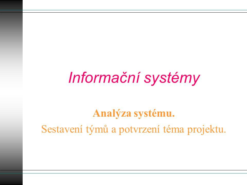 Informační systémy Analýza systému. Sestavení týmů a potvrzení téma projektu.