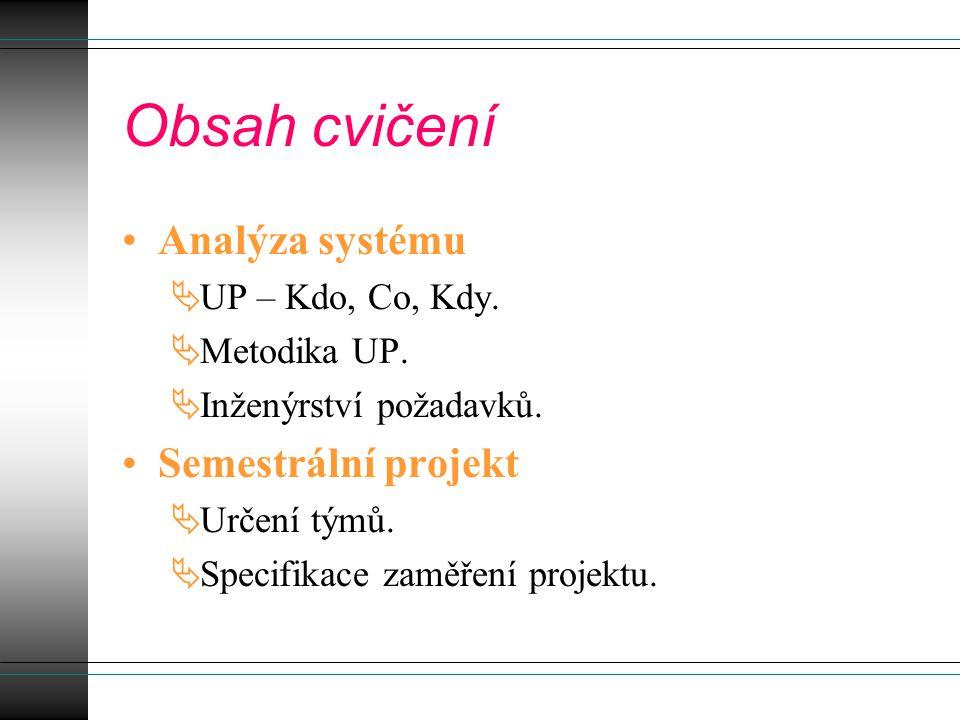 Obsah cvičení Analýza systému  UP – Kdo, Co, Kdy.