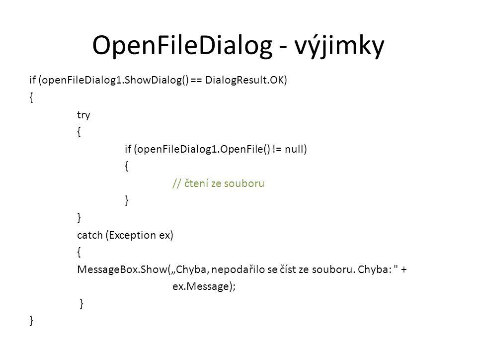 Binární soubory Čtení – BinaryReader br = new BinaryReader(new FileStream( C:\\Test1.bin , FileMode.Open)) – int a = br.ReadInt32(); Zápis – BinaryWriter bw = new BinaryWriter(new FileStream( C:\\Test1.bin , FileMode.Create)) – bw.Write(a);