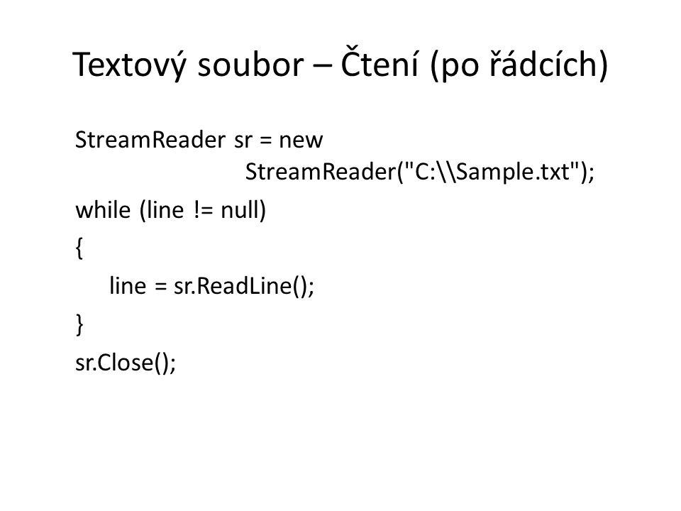 Zpracování načteného řádku StreamReader sr = new StreamReader(soubor) { string s while ((s = sr.ReadLine()) != null) { string[] rozdeleno = s.Split( ; ); }